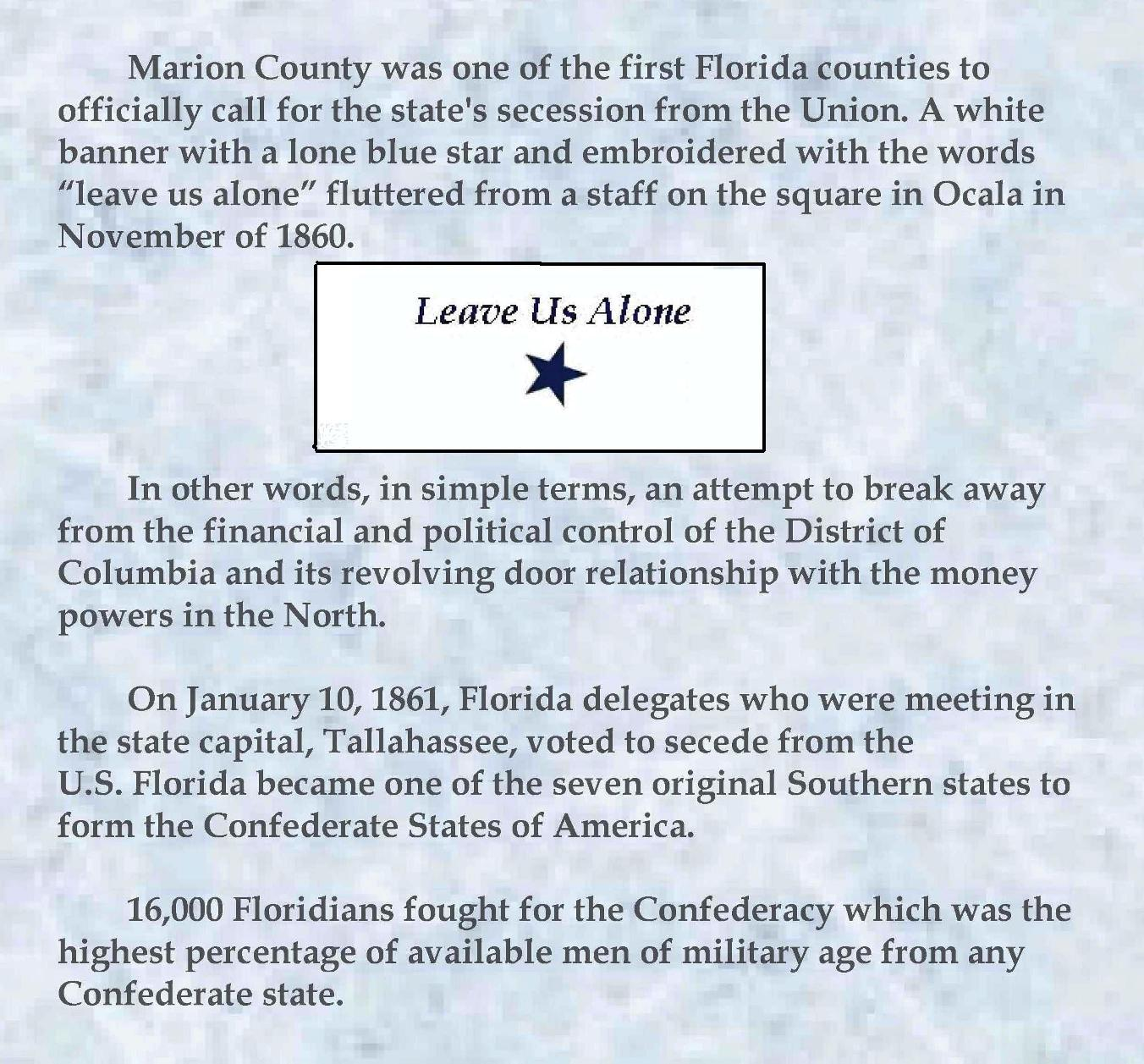 Marion County was one of the first Florida counties