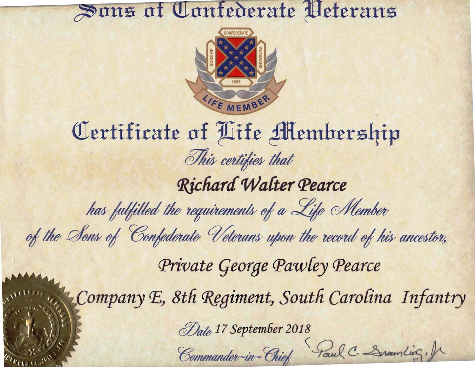 SCV Lifetime Membership Rich Pearce _____