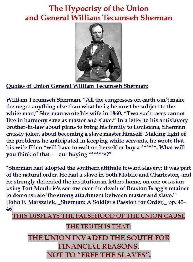 The Hypocrisy of the Union and General William Tecumseh Sherman
